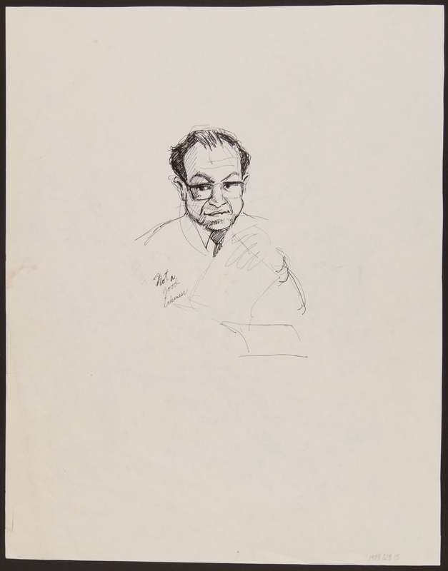1989.329.15 back Double sided drawing of expert witness at trial of suspected Ukrainian war criminal