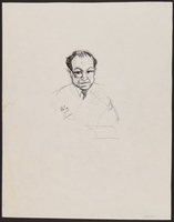 1989.329.15 back Double sided drawing of expert witness at trial of suspected Ukrainian war criminal  Click to enlarge