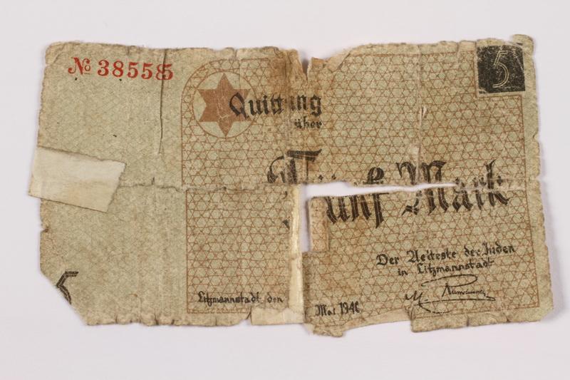 1996.60.1 Łódź (Litzmannstadt) ghetto scrip, 5 mark note