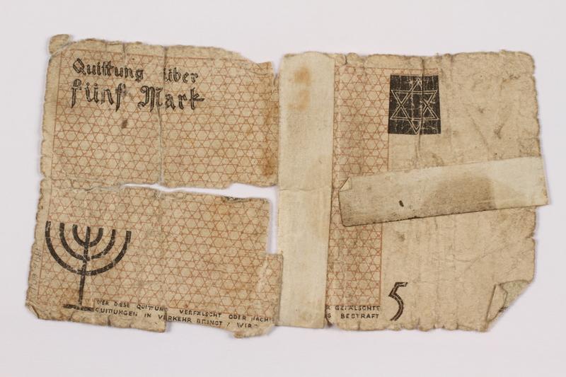 1996.60.1 back Łódź (Litzmannstadt) ghetto scrip, 5 mark note