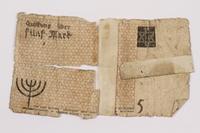 1996.60.1 back Łódź (Litzmannstadt) ghetto scrip, 5 mark note  Click to enlarge