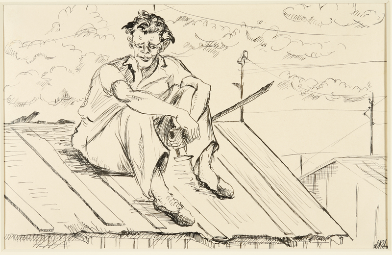 1988.1.49 front Drawing of a man sitting on a roof by a German Jewish internee