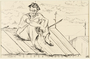 Drawing of a man sitting on a roof by a German Jewish internee