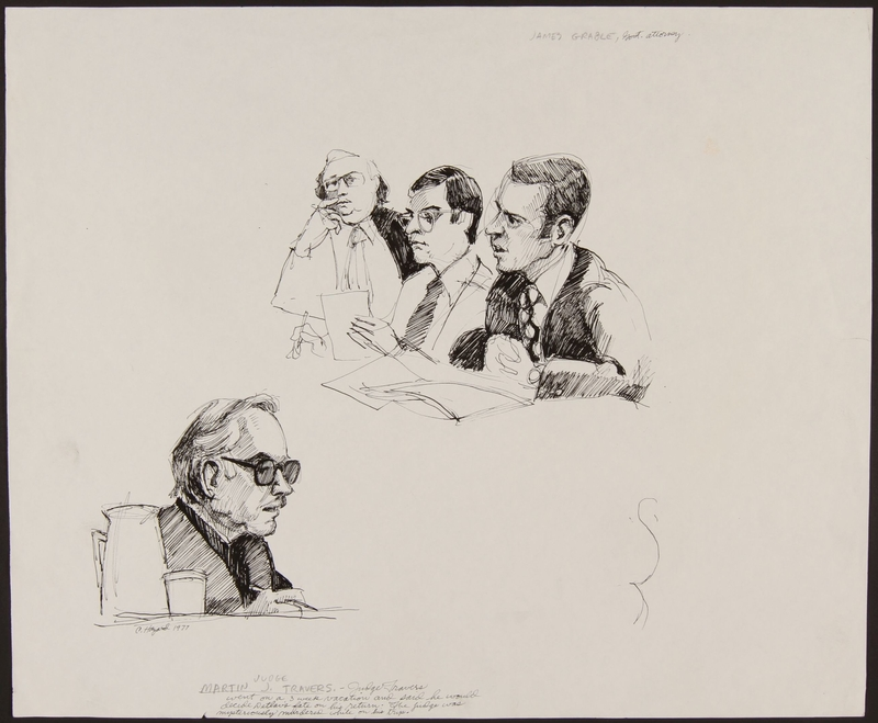 1989.329.2 front Drawing of judge and US attorney at trial of accused Latvian war criminal