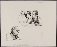 1989.329.2 front Drawing of judge and US attorney at trial of accused Latvian war criminal  Click to enlarge