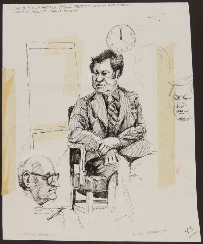 1989.329.3 front Drawing of a Holocaust survivor tesifying at trial of accused Latvian war criminal