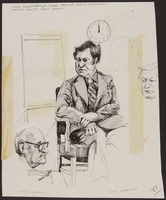 1989.329.3 front Drawing of a Holocaust survivor tesifying at trial of accused Latvian war criminal  Click to enlarge