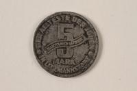 1996.74.1 back Łódź (Litzmannstadt) ghetto scrip, 5 mark coin  Click to enlarge