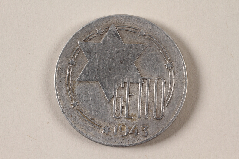 1996.74.10 front Łódź (Litzmannstadt) ghetto scrip, 20 mark coin