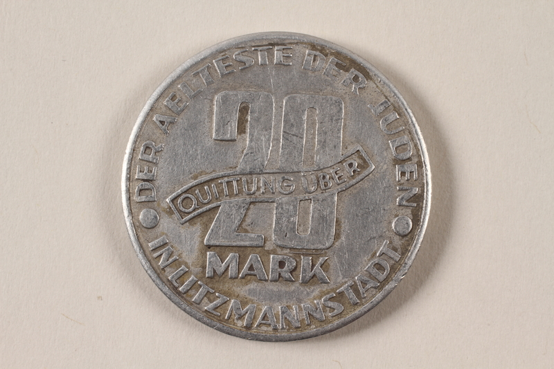 1996.74.10 back Łódź (Litzmannstadt) ghetto scrip, 20 mark coin