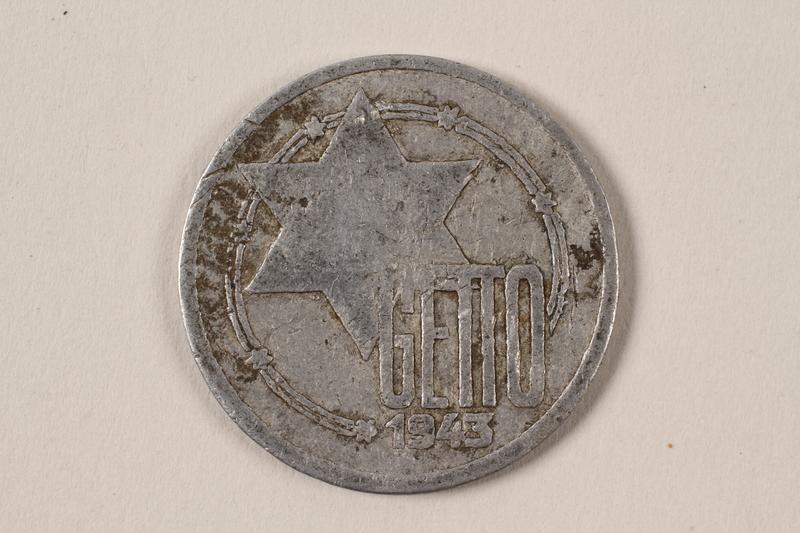 1996.74.2 front Łódź (Litzmannstadt) ghetto scrip, 10 mark coin