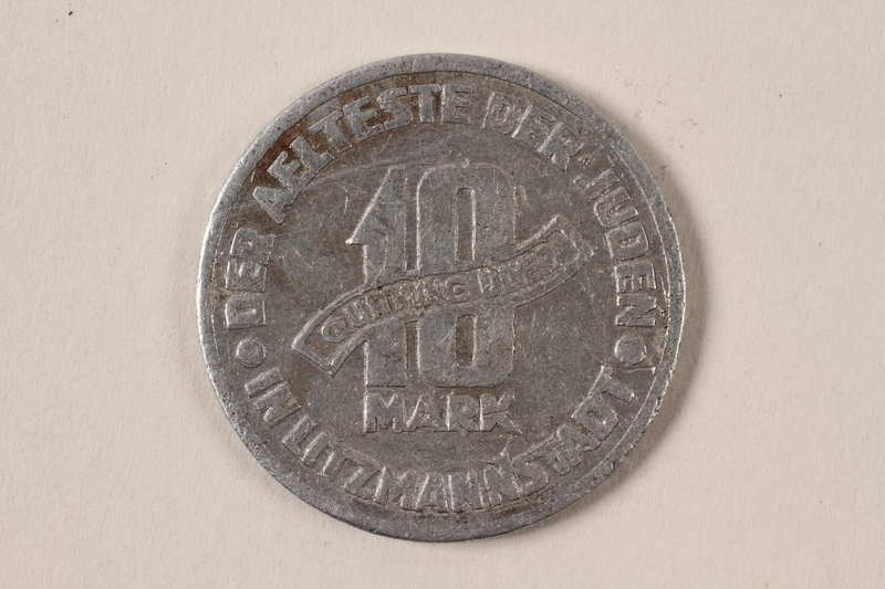 1996.74.3 back Łódź (Litzmannstadt) ghetto scrip, 10 mark coin