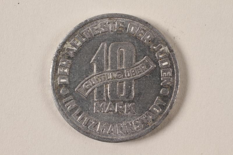 1996.74.5 back Łódź (Litzmannstadt) ghetto scrip, 10 mark coin
