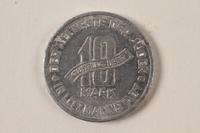 1996.74.5 back Łódź (Litzmannstadt) ghetto scrip, 10 mark coin  Click to enlarge