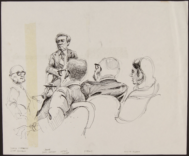 1989.329.5 front Drawing of accuser and accused at trial of suspected Latvian war criminal