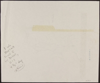 1989.329.5 back Drawing of accuser and accused at trial of suspected Latvian war criminal  Click to enlarge