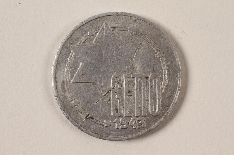 1996.74.6 front Łódź (Litzmannstadt) ghetto scrip, 10 mark coin