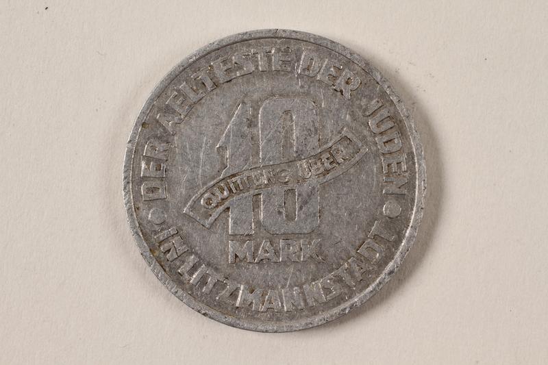 1996.74.6 back Łódź (Litzmannstadt) ghetto scrip, 10 mark coin