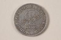 1996.74.6 back Łódź (Litzmannstadt) ghetto scrip, 10 mark coin  Click to enlarge