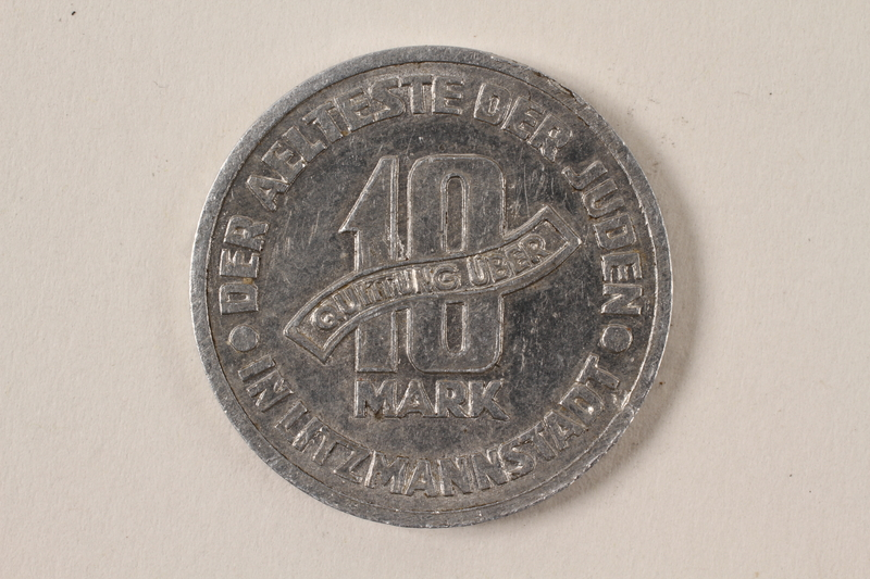 1996.74.7 back Łódź (Litzmannstadt) ghetto scrip, 10 mark coin