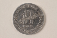 1996.74.7 back Łódź (Litzmannstadt) ghetto scrip, 10 mark coin  Click to enlarge