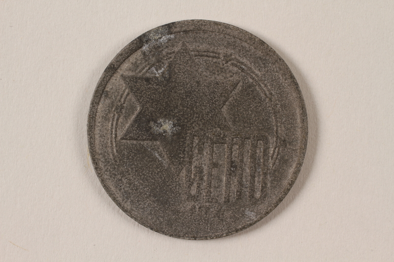 1996.74.8 front Łódź (Litzmannstadt) ghetto scrip, 10 mark coin