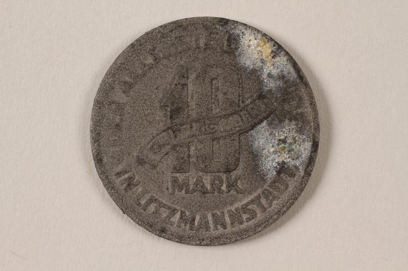 1996.74.8 back Łódź (Litzmannstadt) ghetto scrip, 10 mark coin
