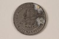 1996.74.8 back Łódź (Litzmannstadt) ghetto scrip, 10 mark coin  Click to enlarge