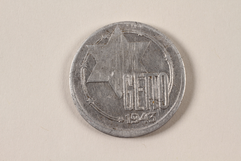 1996.74.9 front Łódź (Litzmannstadt) ghetto scrip, 20 mark coin