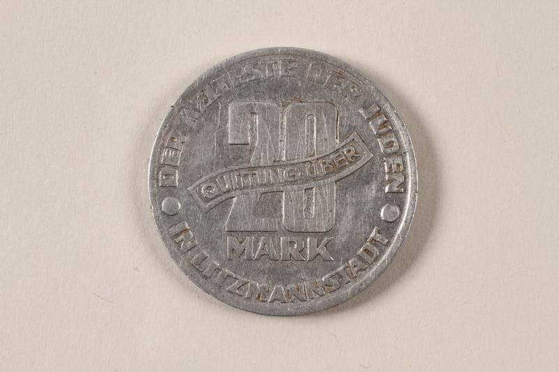 1996.74.9 back Łódź (Litzmannstadt) ghetto scrip, 20 mark coin