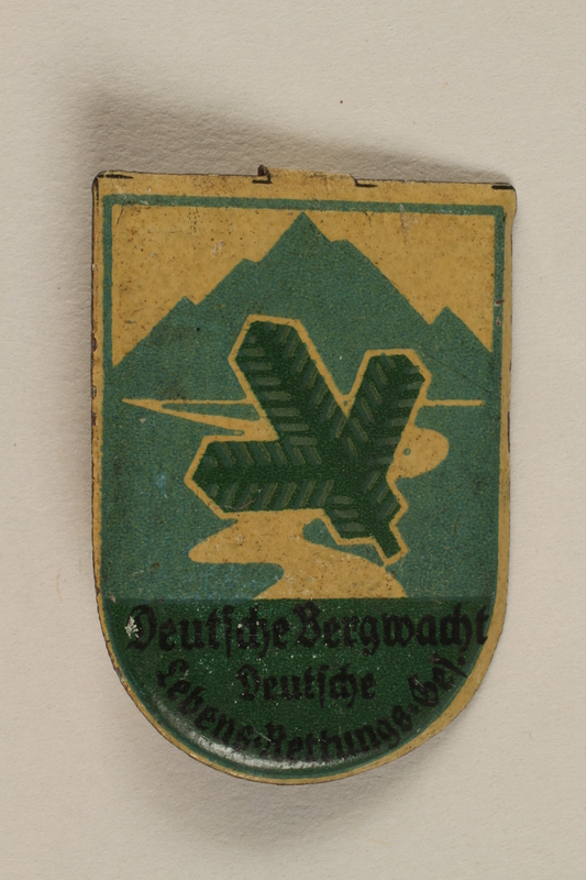 1996.75.11 front German mountain rescue organization badge