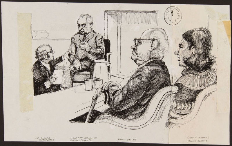 1989.329.6 front Drawing of eyewitness identifying defendant at trial of Latvian war criminal