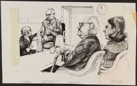 1989.329.6 front Drawing of eyewitness identifying defendant at trial of Latvian war criminal  Click to enlarge