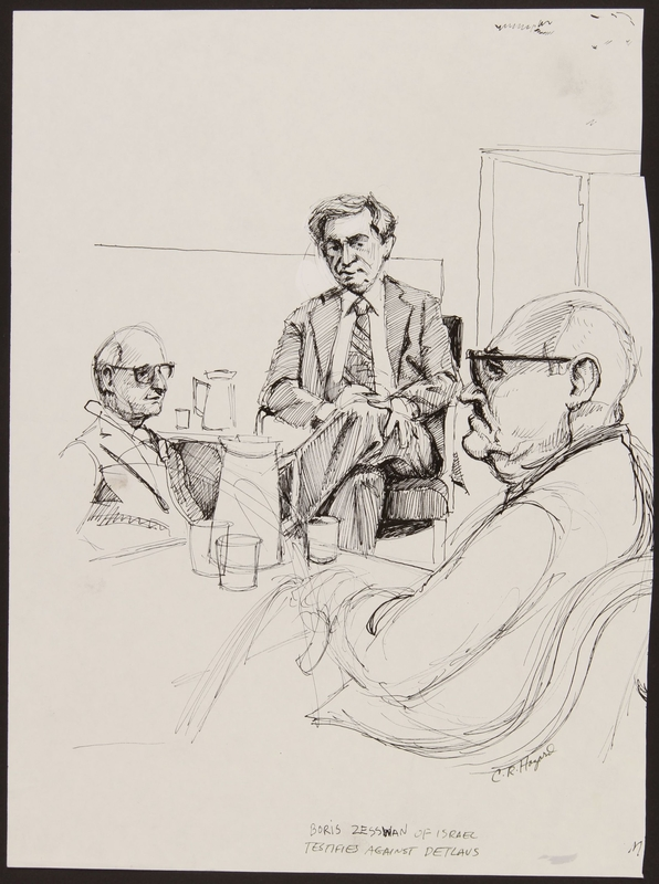 1989.329.7 front Drawing of Holocaust survivor testifying at trial of suspected Latvian war criminal