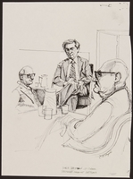 1989.329.7 front Drawing of Holocaust survivor testifying at trial of suspected Latvian war criminal  Click to enlarge