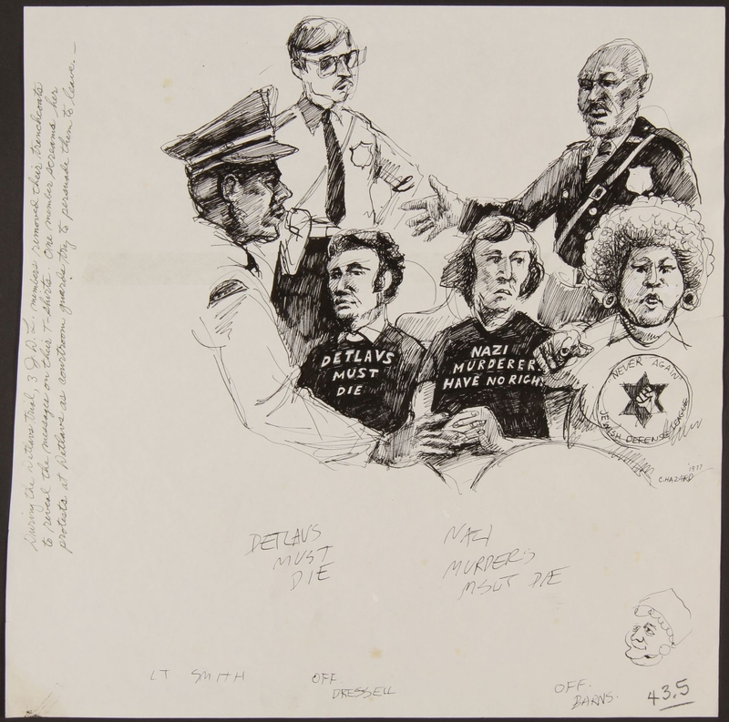 1989.329.8 front Drawing of guards and JDL protestors at trial of suspected Latvian war criminal