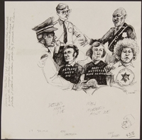1989.329.8 front Drawing of guards and JDL protestors at trial of suspected Latvian war criminal  Click to enlarge