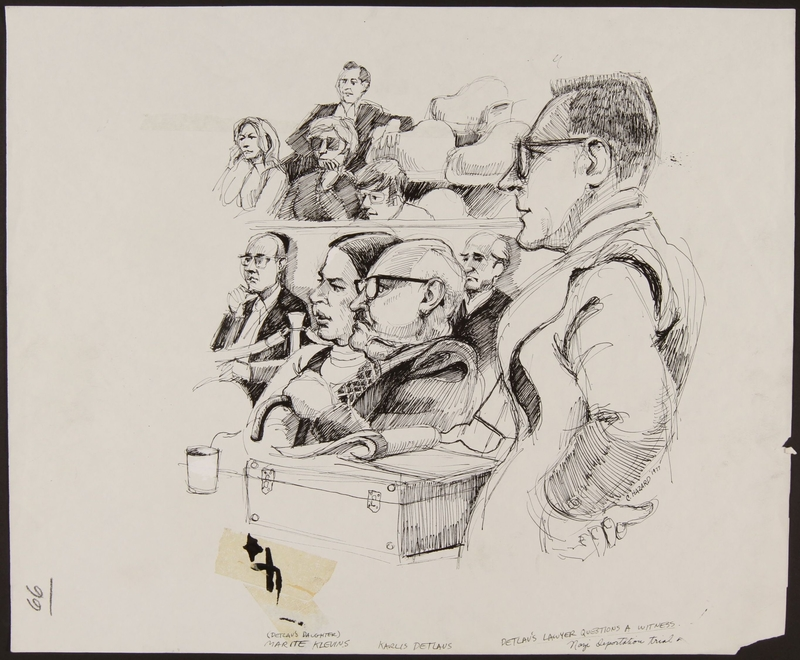 1989.329.9 front Drawing of lawyer questioning eyewitness at trial of accused Latvian war criminal