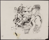 1989.329.9 front Drawing of lawyer questioning eyewitness at trial of accused Latvian war criminal  Click to enlarge