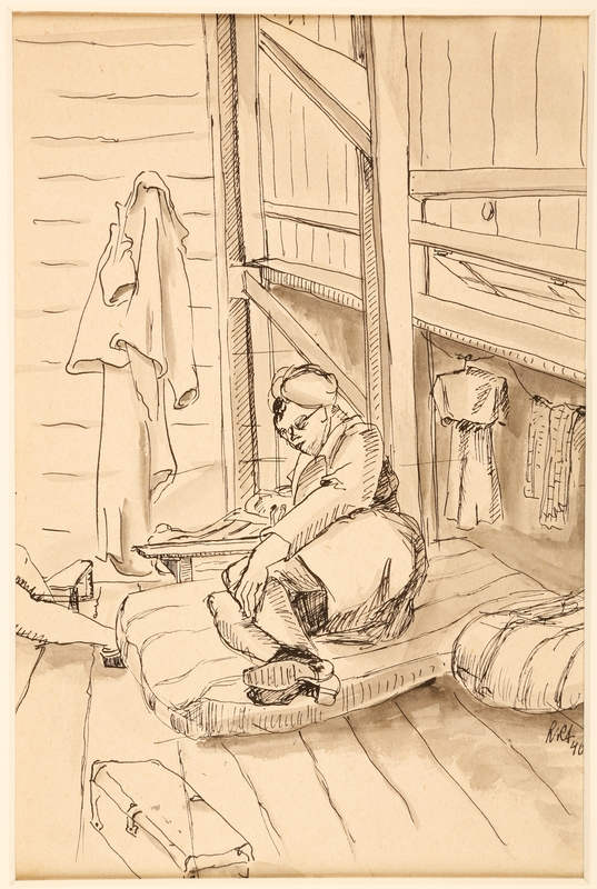 1988.1.5 front Ink drawing of female internee reading a book by a German Jewish internee