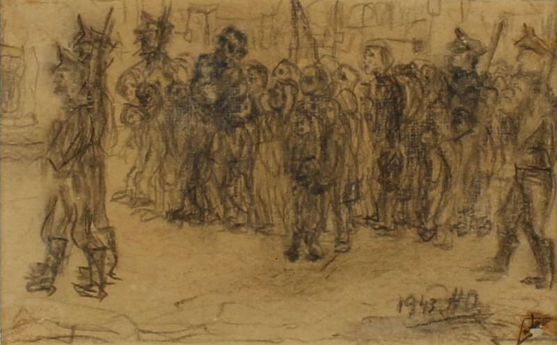 CM_1989.331.1_001 front Halina Olomucki drawing of man and children taken by armed guards