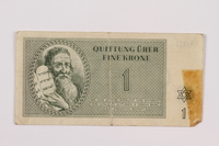 1996.85.1 front Theresienstadt ghetto-labor camp scrip, 1 krone note  Click to enlarge