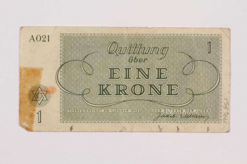 1996.85.1 back Theresienstadt ghetto-labor camp scrip, 1 krone note
