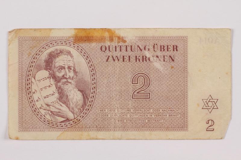 1996.85.2 front Theresienstadt ghetto-labor camp scrip, 2 kronen note