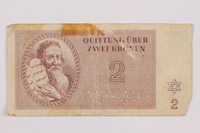 1996.85.2 front Theresienstadt ghetto-labor camp scrip, 2 kronen note  Click to enlarge