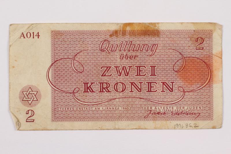 1996.85.2 back Theresienstadt ghetto-labor camp scrip, 2 kronen note