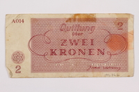 1996.85.2 back Theresienstadt ghetto-labor camp scrip, 2 kronen note  Click to enlarge