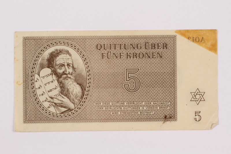 1996.85.3 front Theresienstadt ghetto-labor camp scrip, 5 kronen note