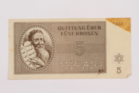 1996.85.3 front Theresienstadt ghetto-labor camp scrip, 5 kronen note  Click to enlarge