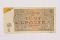 1996.85.3 back Theresienstadt ghetto-labor camp scrip, 5 kronen note  Click to enlarge
